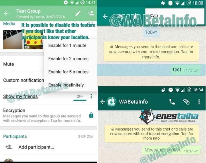 WhatsApp'ta Mesaj Silme Dönemi Başlıyor